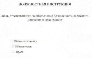 Основные положения должностной инструкции ответственного за БДД